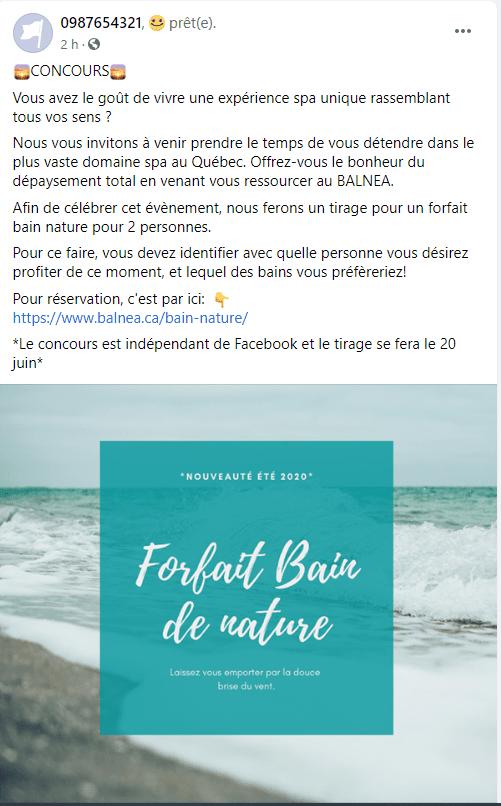Publication facebook pour un spa